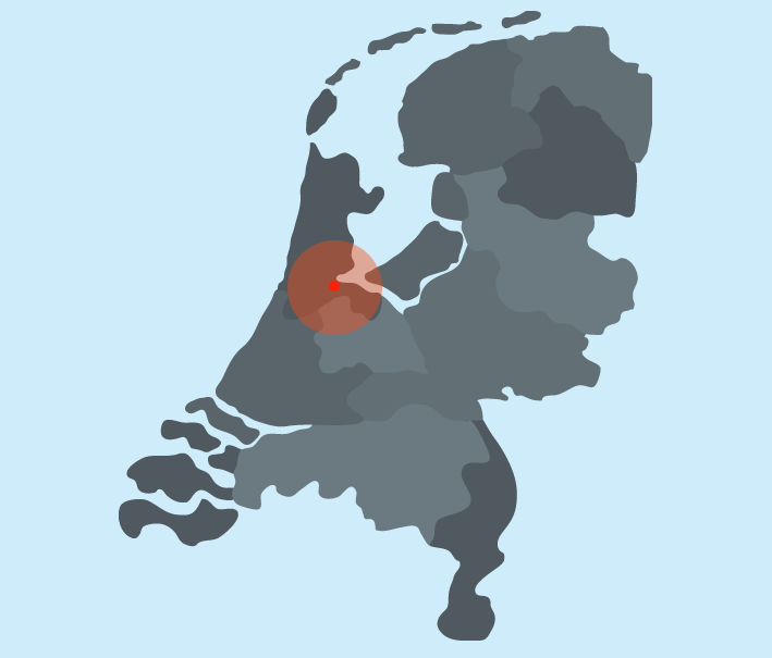 Werkgebied Montage- en Installatiebedrijf Amsterdam - rood